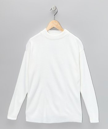 White Mock-Neck Pullover - Girls
