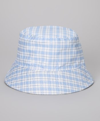 Sky Blue & Silver Plaid Bucket Hat