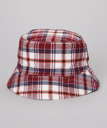 Burgundy & Navy Plaid Bucket Hat