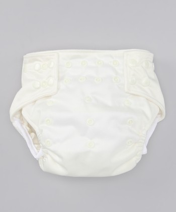 Camel White Leg-Gusset Pocket Diaper