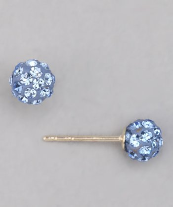 Sapphire Blue Crystal Ball Stud Earrings - Girls