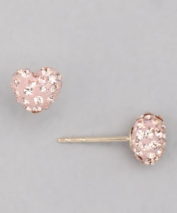 10k Peach Crystal Heart Stud Earrings