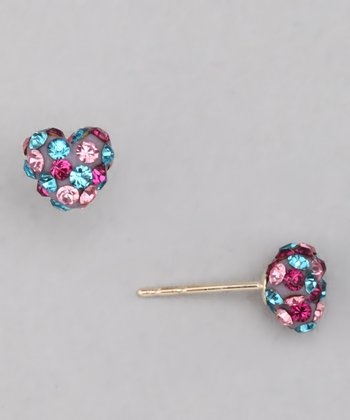 10k Evening Sparkle Crystal Heart Stud Earrings