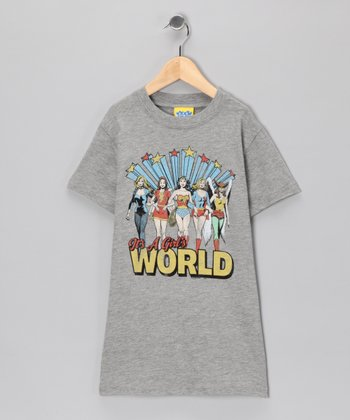 Gray 'It's A Girl's World' Tee - Girls