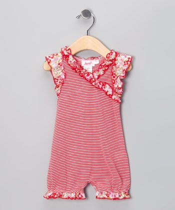 Red Stripe Carli Ruffle Romper - Infant