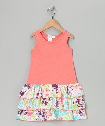 Peach Splatter Tiered Ruffle Dress - Toddler & Girls