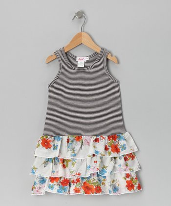 Gray Stripe Floral Ruffle Dress - Girls
