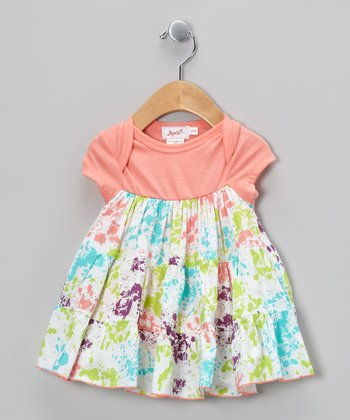 Peach Paint Splatter Skirted Bodysuit - Infant
