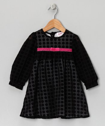 Black Velour Flower Long-Sleeve Dress - Infant