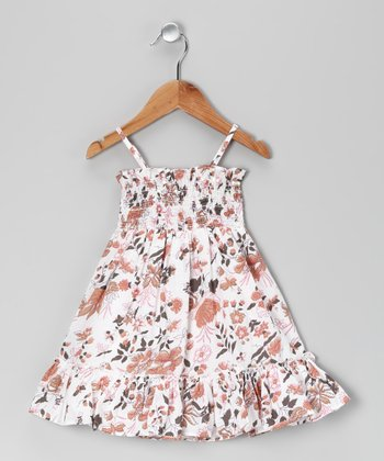 Brown Floral Smocked Dress - Toddler & Girls