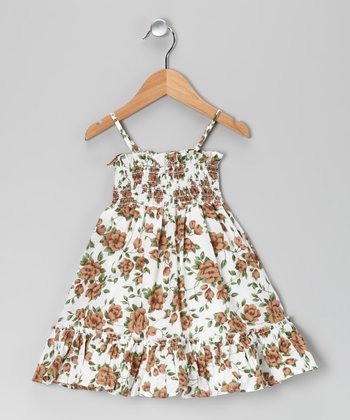 Brown & Green Flower Shirred Dress - Toddler & Girls