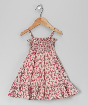 Pink Rose Smocked Dress - Toddler