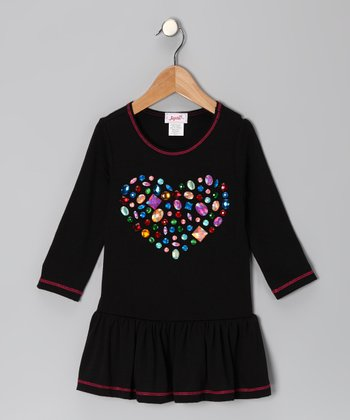 Black Gem Heart Drop-Waist Dress - Toddler & Girls