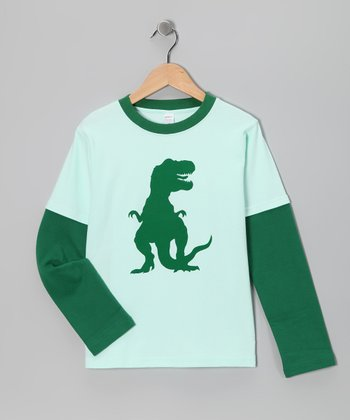 Mint & Kelly T-Rex Layered Tee - Toddler & Boys