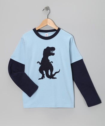 Sky & Navy T-Rex Layered Tee - Toddler & Boys