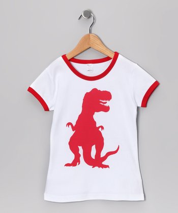 White & Red T-Rex Tee - Toddler & Girls