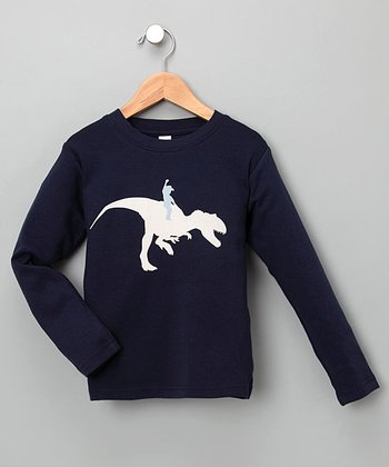 Navy Dino Rider Long-Sleeve Tee - Toddler & Kids