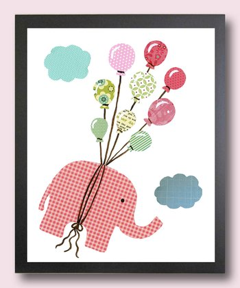 Pink I Can Fly Elephant Print