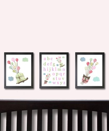 Pink I Can Fly Animal & Alphabet Prints - Set of Three