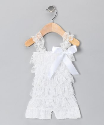 White Lace Ruffle Romper - Infant & Toddler
