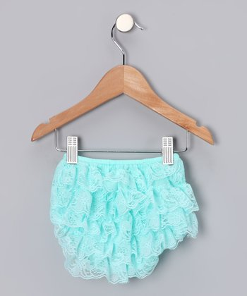 Aqua Lace Ruffle Diaper Cover - Infant