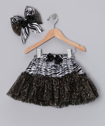 Black Zebra Glitter Tutu & Bow Clip - Infant & Toddler