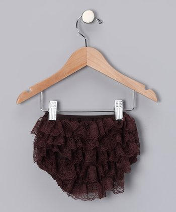 Coffee Lace Ruffle Diaper Cover - Infant