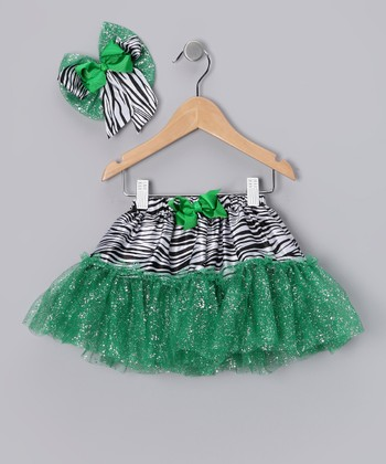 Emerald Green Zebra Glitter Tutu & Bow Clip - Infant & Toddler