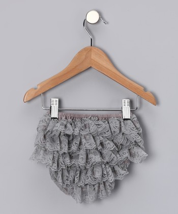 Gray Lace Ruffle Diaper Cover - Infant
