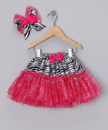 Hot Pink Zebra Glitter Tutu & Bow Clip - Infant & Toddler