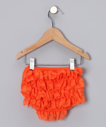 Orange Lace Ruffle Diaper Cover - Infant