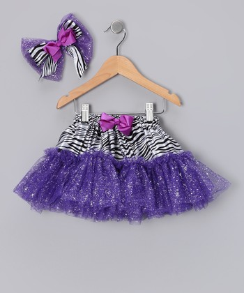 Purple Zebra Glitter Tutu & Bow Clip - Infant & Toddler