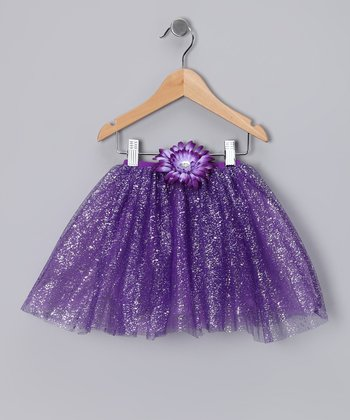 Purple Glitter Daisy Tutu - Toddler & Girls