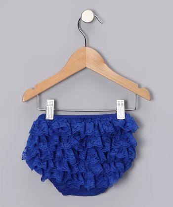 Royal Blue Lace Ruffle Diaper Cover - Infant