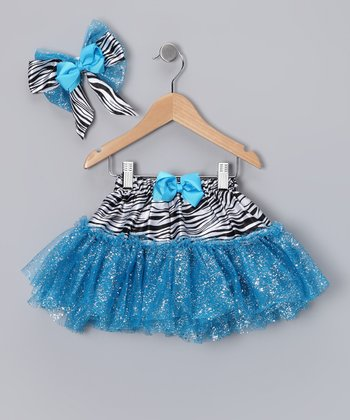 Turquoise Zebra Glitter Tutu & Bow Clip - Infant & Toddler