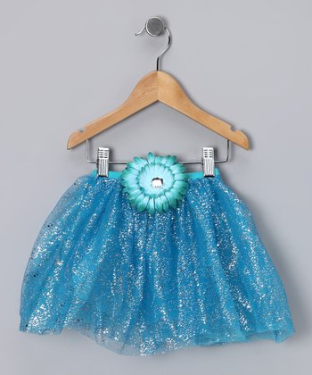 Turquoise Glitter Daisy Tutu - Toddler & Girls