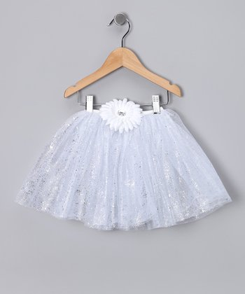 White Glitter Daisy Tutu - Toddler & Girls