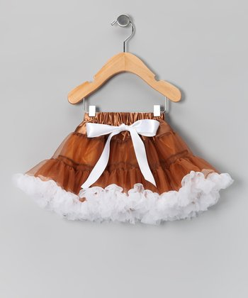 Coffee & White Bow Pettiskirt - Infant, Toddler & Girls
