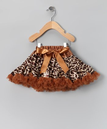 Brown Giraffe Bow Pettiskirt - Infant, Toddler & Girls