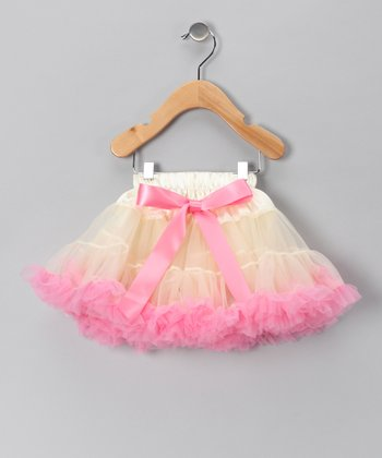 Ivory & Light Pink Bow Pettiskirt - Infant, Toddler & Girls