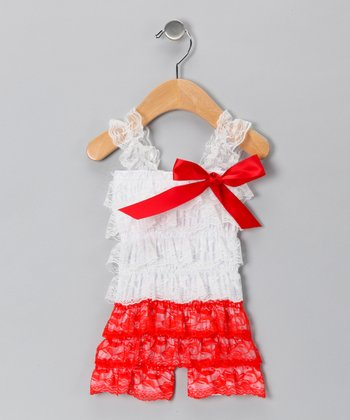 White & Red Lace Ruffle Romper - Infant & Toddler