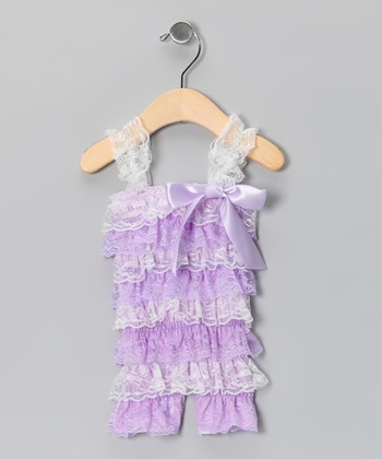 Lavender & White Lace Ruffle Romper - Infant & Toddler