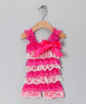 Hot Pink & White Lace Ruffle Romper - Infant & Toddler