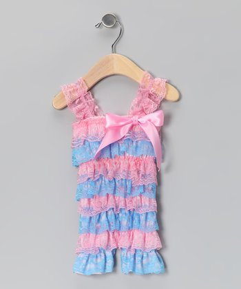 Pink & Turquoise Lace Ruffle Romper - Infant & Toddler