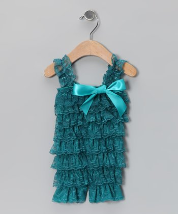 Teal Lace Ruffle Romper - Infant & Toddler