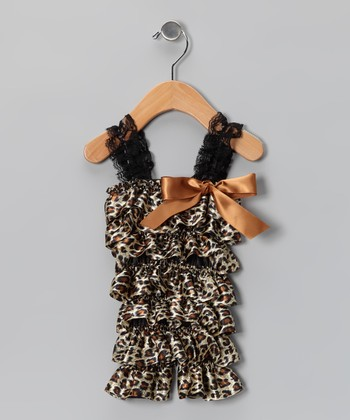 Brown Leopard Satin Ruffle Romper - Infant & Toddler