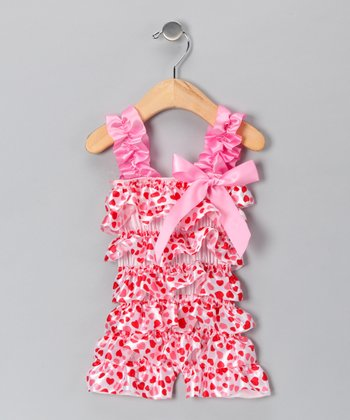 White Heart Satin Ruffle Romper - Infant & Toddler