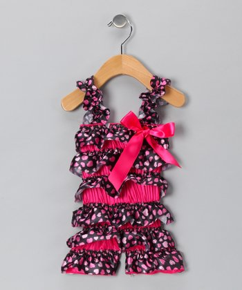 Hot Pink Heart Satin Romper - Infant & Toddler