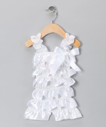 White Satin Ruffle Romper - Infant & Toddler