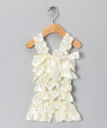 Ivory Satin Romper - Infant & Toddler